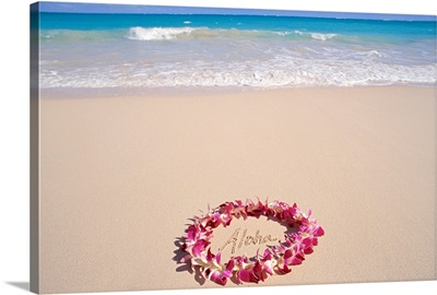 Hawaii, Purple Orchid Lei, Aloha Written In The Sand