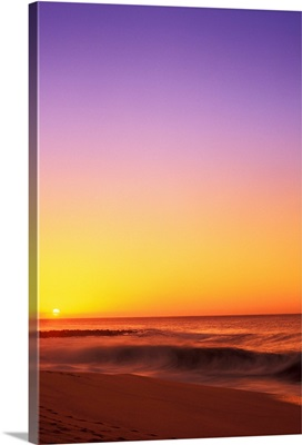 Hawaii, Sunset On The Beach, View Of Sun Sinking In Horizon