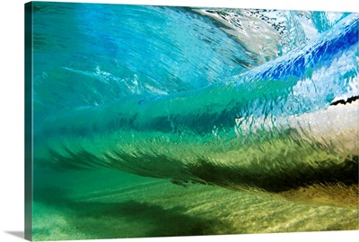 Hawaii, Underwater View Of Wave