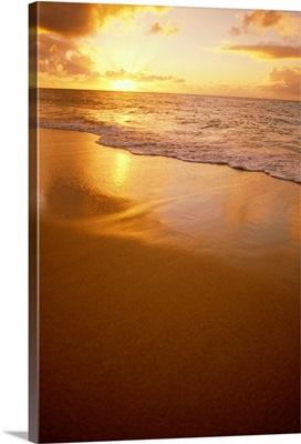 Hawaiian Sunset At Beach, Pastel Colors On Sand