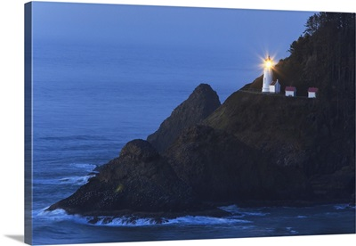 Heceta Head Lighthouse At Sunset, Oregon