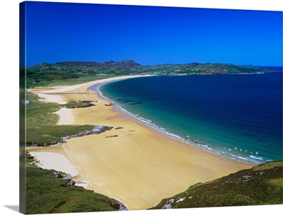 High Angle View Of A Coastline, Portsalon Beach, County Donegal, Republic Of Ireland