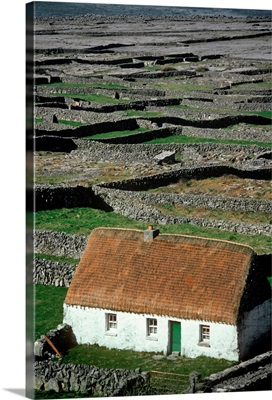 High Angle View Of A Cottage On A Landscape, Aran Islands, Republic Of Ireland