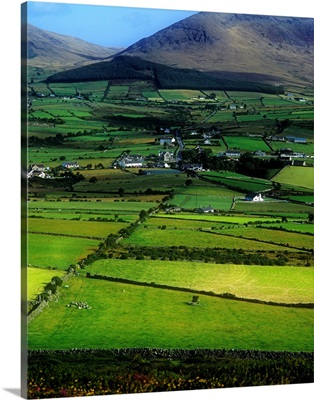 High Angle View Of Buildings In A Village, Mourne Mountains, Northern Ireland