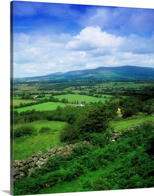 High Angle View Of Fields On A Landscape, Derrynamuck, Republic Of Ireland