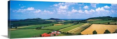 High Angle View Of Fields, Stradbally, County Laois, Republic Of Ireland