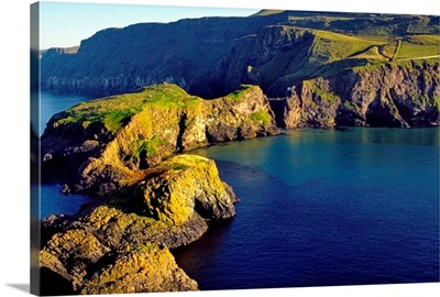 High Angle View Of Rock Formations In The Sea, County Antrim, Northern Ireland