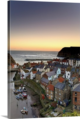 High Angle View Of Staithes Townscape, North Yorkshire, England