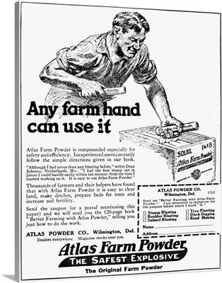 Historic advertisement of Atlas Farm Powder, The Safest Explosive