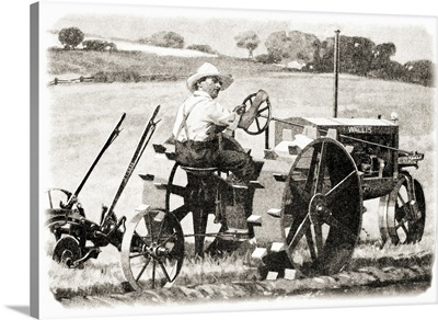 Historic illustration of farmer riding a Wallis tractor from early 20th century