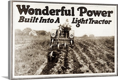 Historic tractor advertisement from early 20th century.