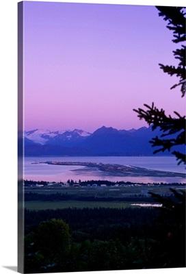 Homer and Homer Spit sunset, Kenai Mountains, Kachemak Bay