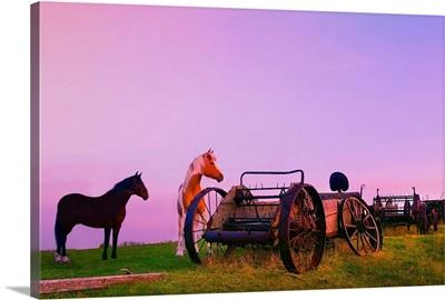 Horses Beside Broken Carriages