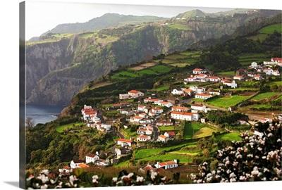 Houses on a hillside, Ribeira dos Barqueiros, Flores Island, Azores, Portugal