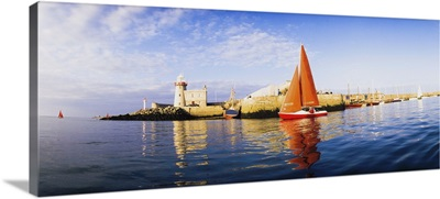 Howth, County Dublin, Ireland, Sailboat In Harbour