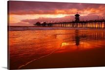Huntington Beach At Sunset, California, Usa