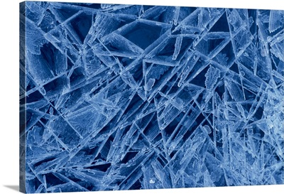 Ice Crystals Formed on Portage River Alaska Winter