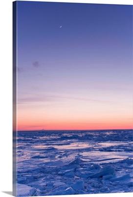 Ice Floe And Moon At Twilight, Bonaventure, Quebec, Canada