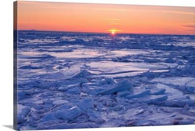 Ice Floe At Sunset, Gaspesie Region, Bonaventure, Quebec, Canada