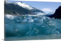 Iceberg calved from the terminus of Mendenhall Glacier in Mendenhall Lake