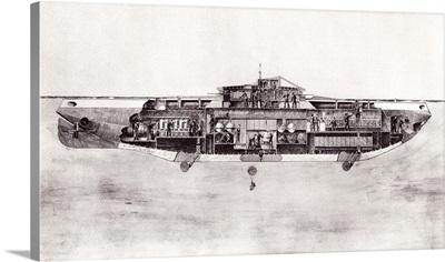 Illustration Of A Lake Submarine, Used During World War One