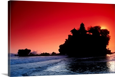Indonesia, Bali, Tanah Lot Silhouetted By Dramatic Red Sunset Skies