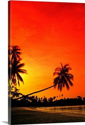 Indonesia, Bintan Island Resort, Beach At Sunset
