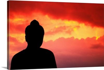 Indonesia, Java, Borobudur, Temple Relic, Buddhist Statue At Sunset