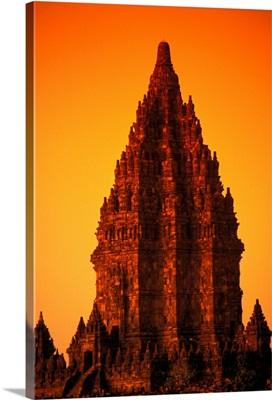 Indonesia, Java, Prambanan, Shiva Mahadeva Temple, Stone Architecture At Sunset