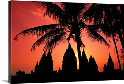 Indonesia, Java, View Of Palm Trees And Buildings Silhouetted At Sunset