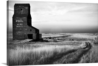 Infrared Image Of Abandoned Grain Elevator, Ghost Town, Saskatchewan, Canada