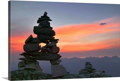 Innukshuk On The Top Of Whistler Mountain, Alberta, Canada