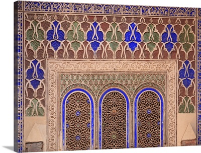 Intricate Painted And Stucco Patterns On The Walls Of A Riad; Marrakech, Morocco