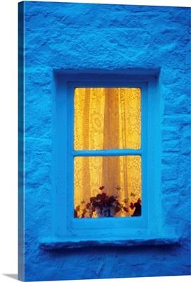 Ireland; Cottage Window At Night