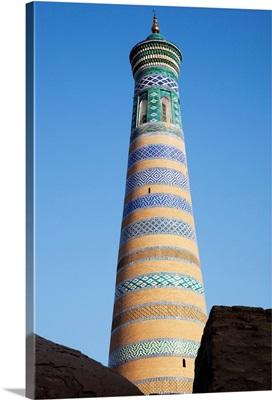 Islam Khoja minaret, inside Ichan Kala Old City, Khiva, Khwarezm, Uzbekistan
