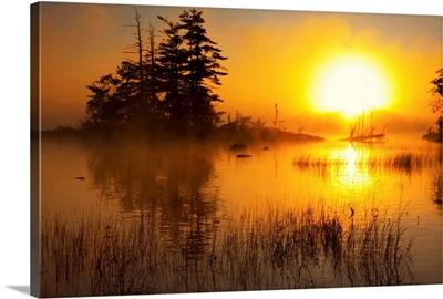 Island And Misty Sunrise On Shubenacadie, Nova Scotia, Canada