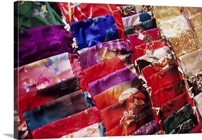 Japan, Beautiful Display Of Many Colorful Silks