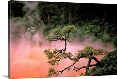 Japan, Beppu Kyushu, Mist From Chinoike Jigoku, Red Volcanic Pool