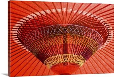 Japan, Tokyo, Asakusa, Red Open Umbrella