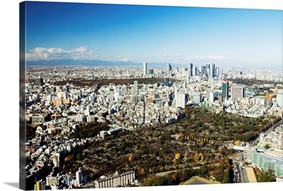 Japan, Tokyo, Roppongi, Aerial Veiw Includes Aoyama Cemetery, Imperial Palace