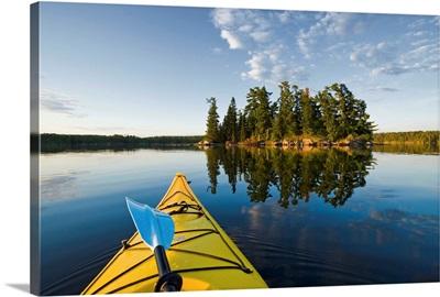 Kayak On Lake In Northwestern Ontario, Lake Of The Woods, Ontario, Canada