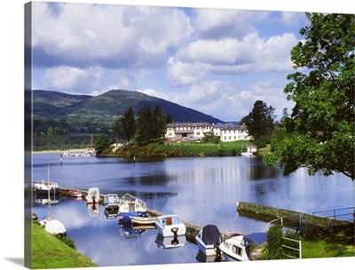 Killaloe, County Clare, Ireland; Lakeside Hotel With Boats Moored On The Lake