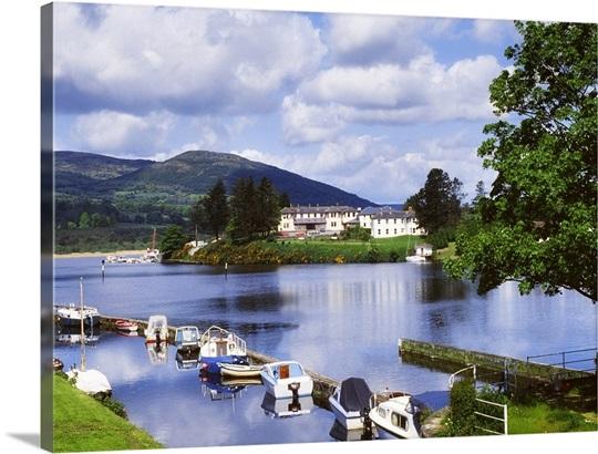 Killaloe County Clare Ireland Lakeside Hotel With Boats Moored On The Lake