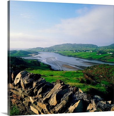 Killybegs, Co Donegal, Ireland; Stone Wall With Landscape And Town Below