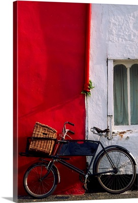 Kinsale, Co Cork, Ireland; Bicycle Parked In Front Of A Building