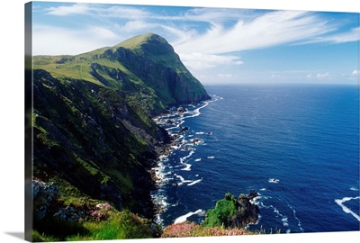Knockmore Mountain, Clare Island, County Mayo, Ireland; Cliff Along Coast And Ocean