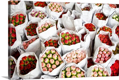 Kowloon, Hong Kong, Roses Wrapped In White Paper Ready For Sale