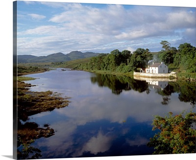 Lackagh River, Creeslough, County Donegal, Ireland; Reflection Of A House In A River