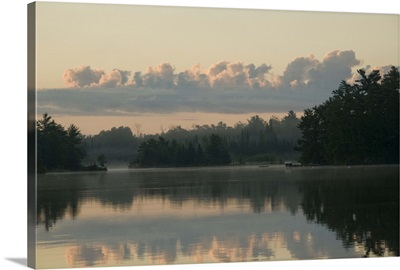 Lake Of The Woods, Ontario, Canada, View Across Lake At Sunrise