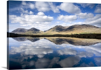 Lake Surrounded By A Mountain Range, Maumturks, County Galway, Ireland